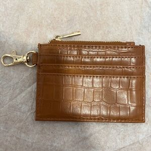 Faux Brown Leather Card Wallet